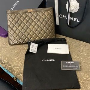 New Authentic Chanel big clutch